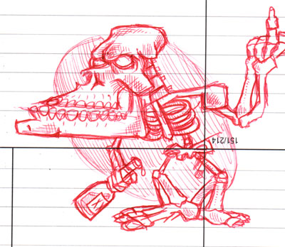 cartoon skeleton with bottle of liquor/booze, sketch drawn in red ink