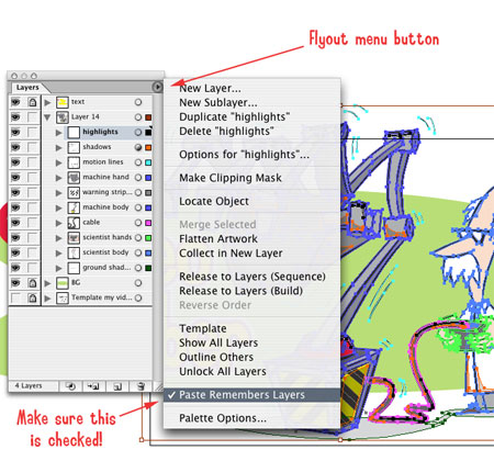 Illustrator Transparency Layer menu