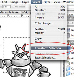 Photoshop Transform Selection Screenshot
