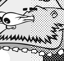 Halftone cartoon comparison