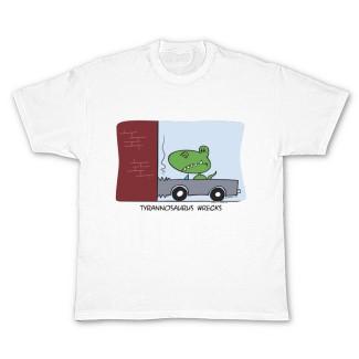 """""""Tyrannosaurus Wrecks"""" humorous dinosaur t-shirt"""