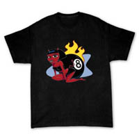 T-shirt with cute cartoon pinup devil girl with 8-ball & hot rod flames