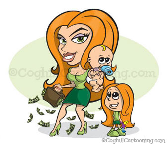 Sexy mom cartoon character illustration