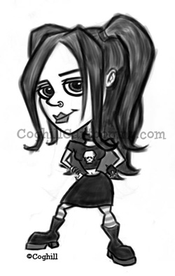 Goth Girl cartoon character sketch