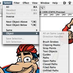 Adobe Illustrator Select menu screenshot with 'Select Menu' additions