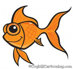 Cartoon goldfish vector art illustration