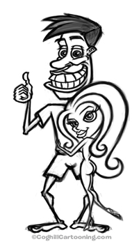 Cartoon guy with sexy girl rough sketch