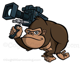 Cartoon gorilla mascot character with video camera