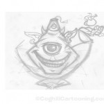 Cartoon genie rough sketch