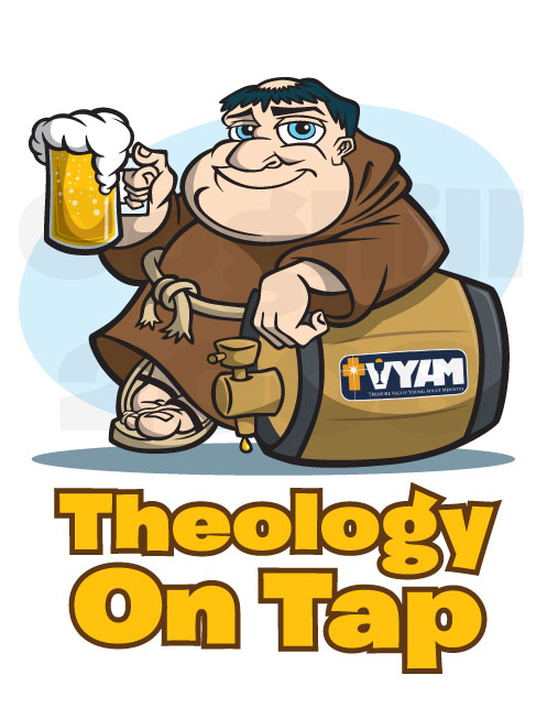 Cartoon character mascot/logo of a monk/friar with beer mug, leaning on beer keg.