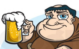Cartoon monk mascot with beer (thumbnail)