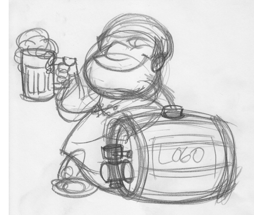 Cartoon monk mascot with beer - rough sketch
