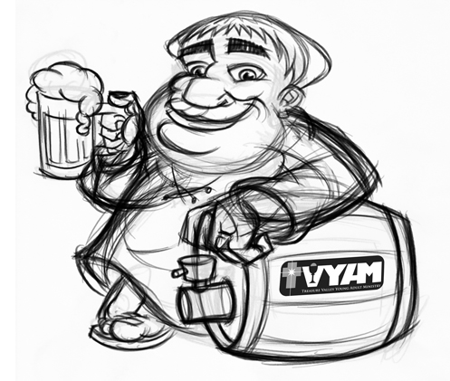 Cartoon monk mascot with beer - initial sketch
