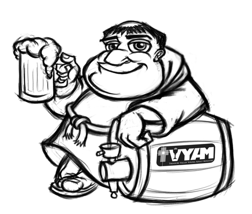 Cartoon monk mascot with beer - cleanup sketch