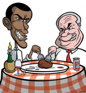Cartoon illustration of Obama & McCain fighting over a meatball on dinner plate.