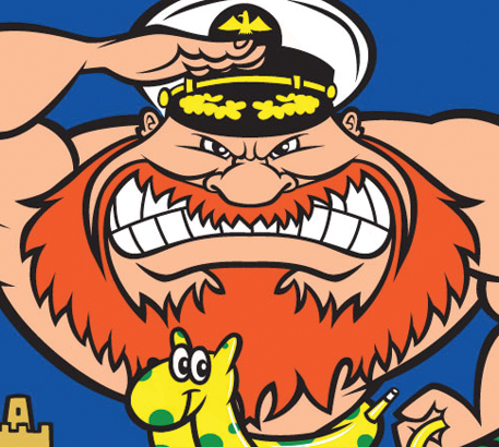 Angry admiral cartoon character with red beard, saluting.