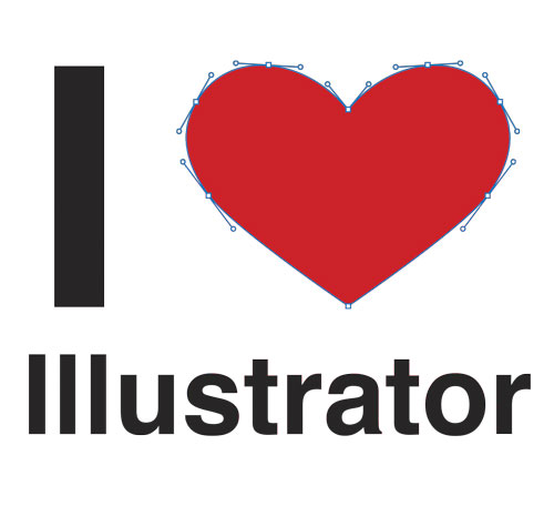 I Heart (Love) Illustrator t-shirt design with heart drawn using vector paths.
