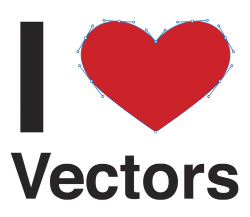 I Heart (Love) Vectors t-shirt design with heart drawn using vector paths.