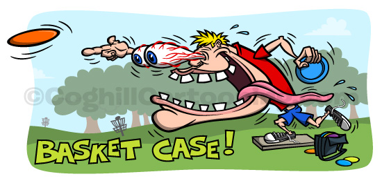 Funny Odd Rods/Kustom Kulture/Ed Roth style disc golf/frolf/frisbee golf cartoon character illustration.