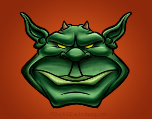 Monster Monday: Green Gremlin/Goblin cartoon character creature mascot illustration