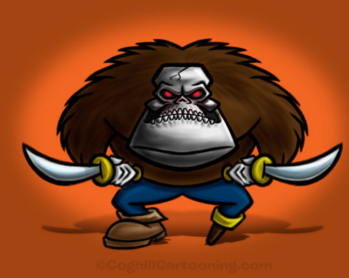 Gorilla pirate with robot skull cartoon character