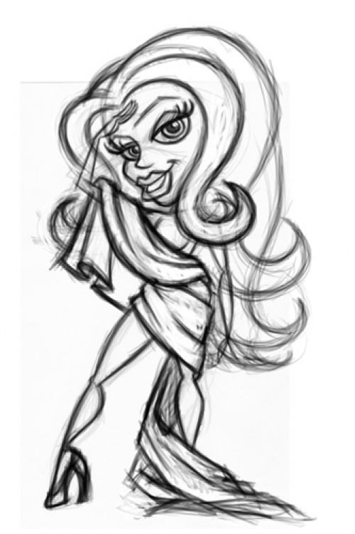 Cartoon pinup girl sketch