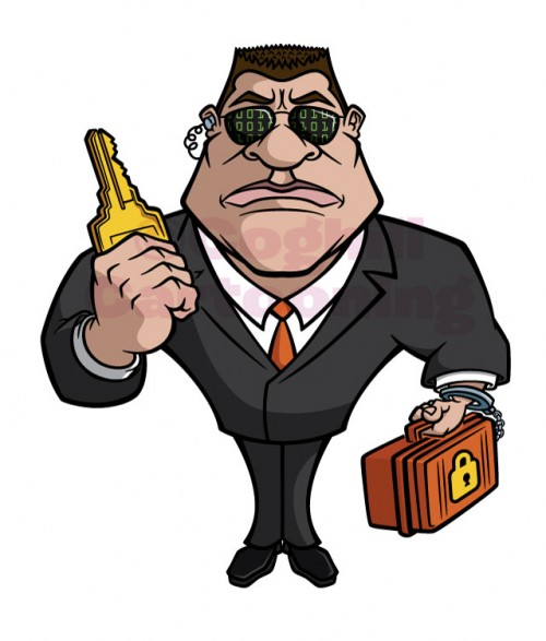 Illustration of cartoon-style bodyguard character with key & briefcase.