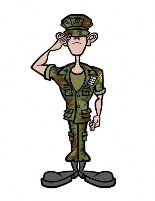 Young Marine cartoon character illustration
