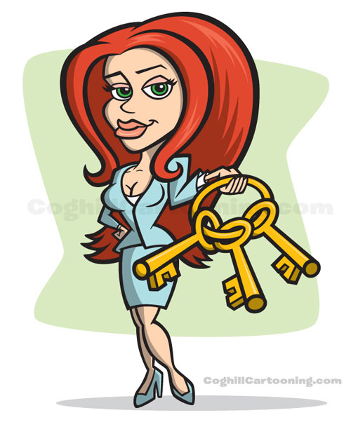 Bail bondswoman with keys cartoon character design