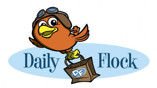 Daily Flock cartoon bird character logo