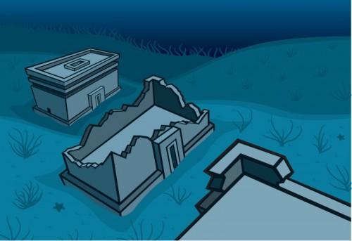 Lost City underwater ruins illustration