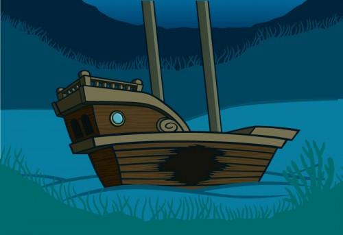 Lost City underwater shipwreck illustration