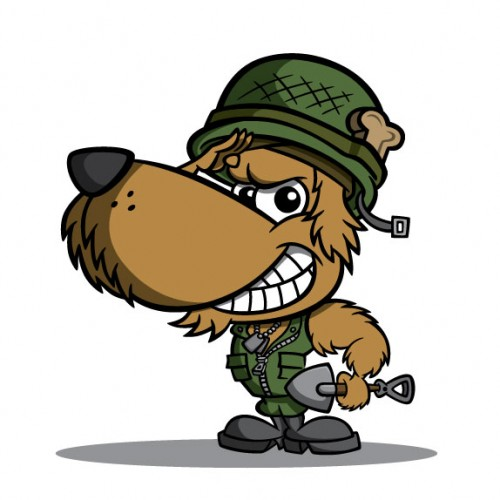Soldier dog cartoon character design for Private Piles mascot & logo