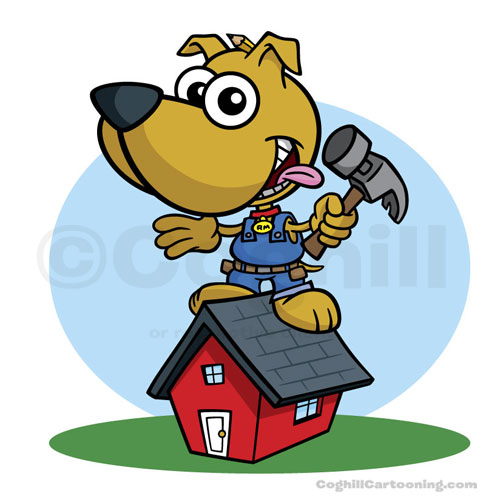 Cartoon carpenter dog with hammer.