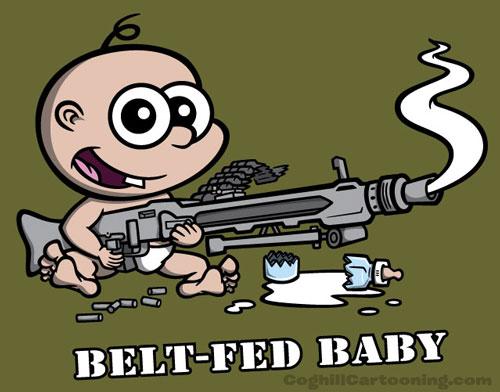 Cartoon baby with MG-42 machine gun.