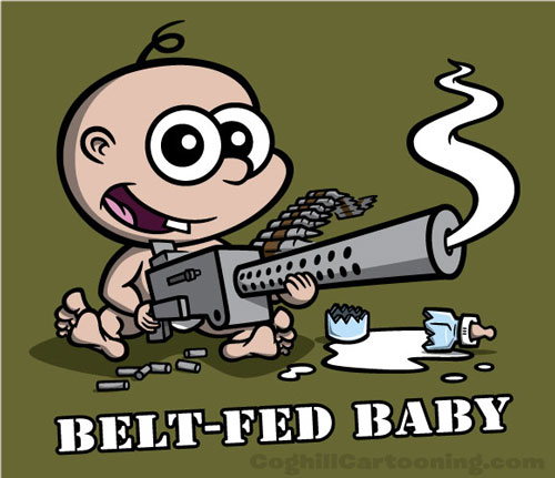 Cartoon baby character holding a Browning machine gun.