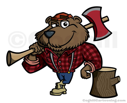 Lumberjack bear cartoon character