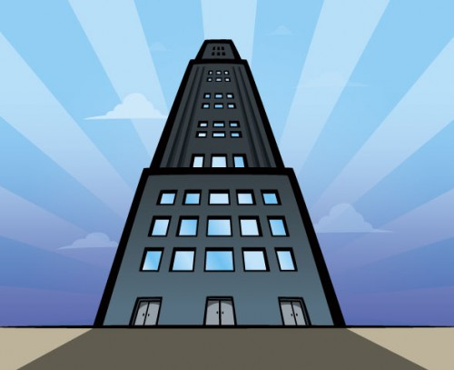 Cartoon-style skyscraper building illustration