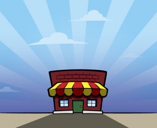 "Cartoon-style ""Mom & Pop"" store building illustration"