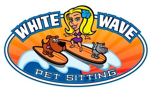 Cartoon surfer girl with dog and cat logo