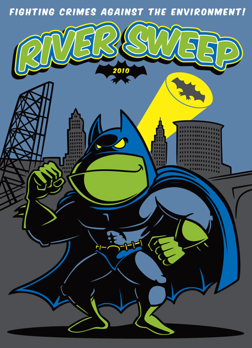 """Batfrog"" cartoon character illustration for River Sweep 2010"