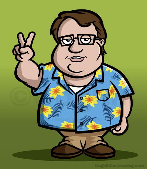 Cartoon character with Hawaiian shirt