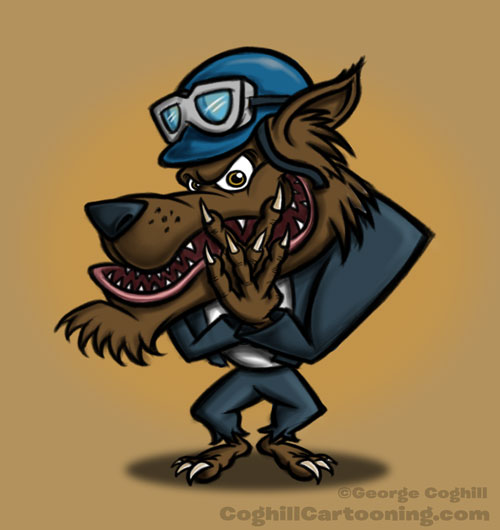 Wolf mascot cartoon character sketch 03
