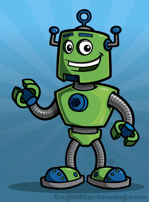 Robot cartoon character mascot illustration