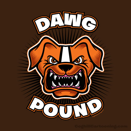 "Cleveland Browns ""dog pound"" art ""Dawg Pound"" cartoon illustration"