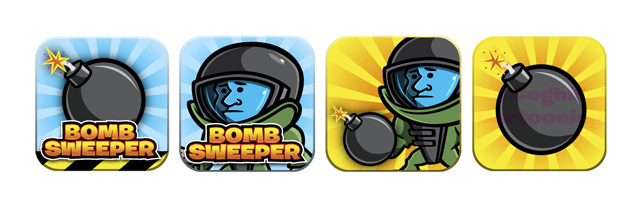 iPhone app icon designs for Bomb Sweeper iOS game