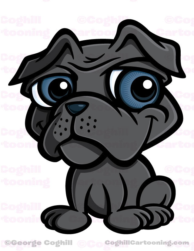 Cartoon character mascot illustration of a pug puppy dog