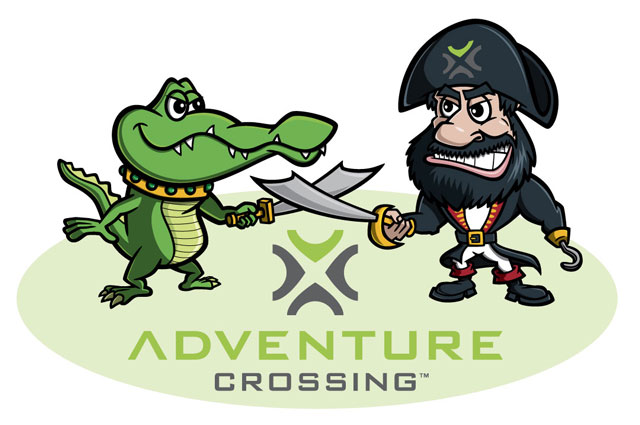Cartoon alligator pirate character logo - Adventure Crossing