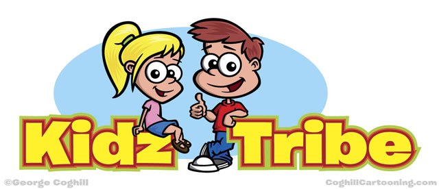 Cartoon boy & girl characters logo for Kidz Tribe
