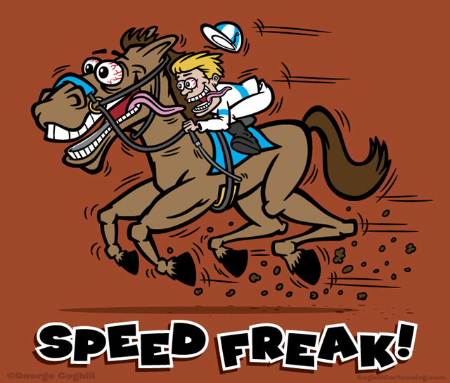 Cartoon illustration of hot rod Big Daddy Roth style horse & jockey characters.